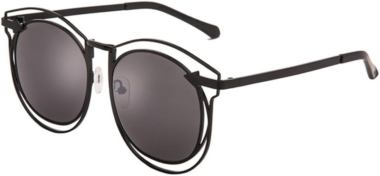 LIZHIQIANG Personality Big Box Sunglasses Female Round Face Hollow Polarizer Fashion Sunglasses Tide Retro (color   Black)