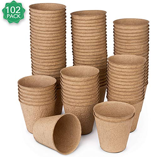 Peat Pots for Garden Seedling Tray ANGTUO 3in 100% Eco-Friendly Organic Germination Seedling Trays Biodegradable 102 Pack