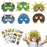 LOPOTIN 18pcs Maschera di Dinosauro, Maschere di Schiuma per Bambini, Maschere per Feste di Compleanno, Maschere per Bambini a Tema, Maschere per Feste per Bambini per Costumi di Scena, Carnevale