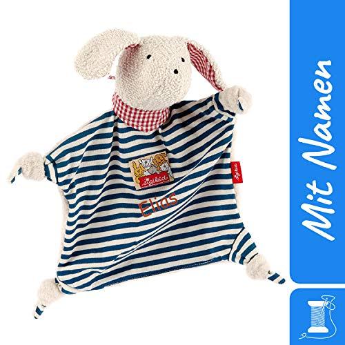 Sigikid Schnuffeltuch Hund mit Namen Bestickt, Baby & Kinder Schmusetuch personalisiert, Kuscheltuch Geschenkidee Jungen, sigikid, Blau, 45580