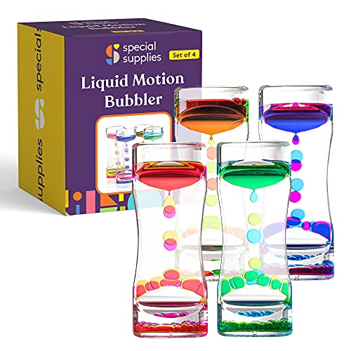 Special Supplies Liquid Motion Bubbler Toy (4-Pack) Colorful Hourglass Timer with Droplet Movement,...