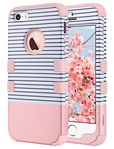 ULAK Cover per iPhone 5s, iPhone SE / 5 Custodia Ibrida a Protezione Integrale con Parte Esterna in 3 Strati di Morbido Silicone e Interno Rigido per Apple iPhone 5s /5 /SE-Oro Rosa Stripes
