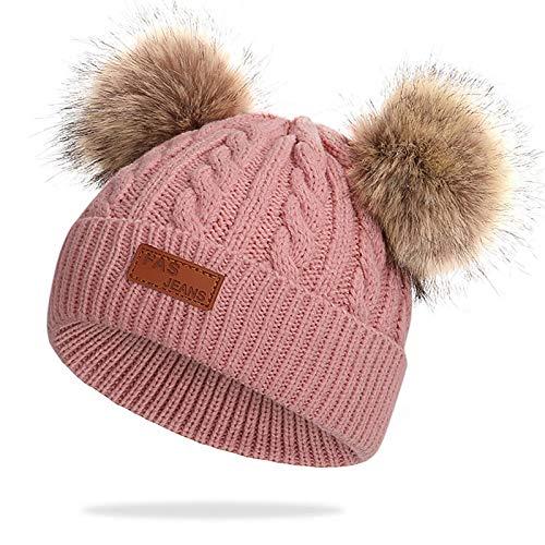 Gorro de Invierno cálido para bebé Gorro Beanie de Piel de Ganchillo para niños pequeños Pom Pom Sombrero Bebé Niños Niñas (Rosa Oscuro)