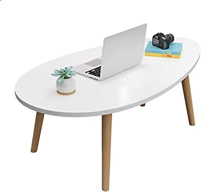Solid Wood Side Table, Modern Oval End Table Coffee Table, Home Decor Sofa Table, Small Space Side Table for Living Room Bedroom Office,White