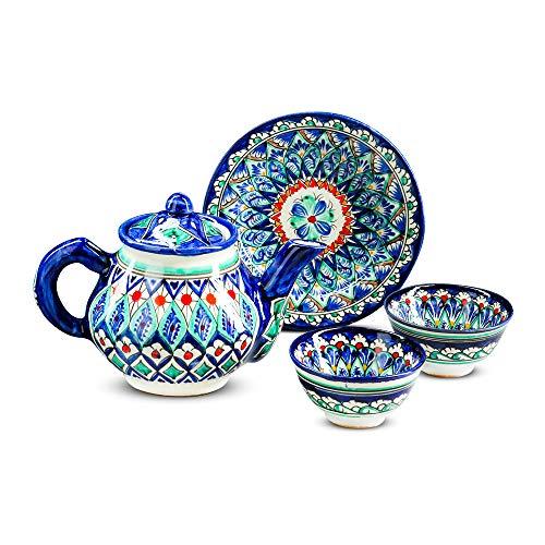 ZARENHOFF Rischtan - Juego de té (cerámica, 4 piezas), diseño oriental