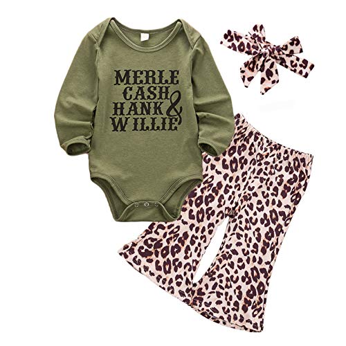 Infant Baby Girls Halloween Outfits Bell-Bottoms Pants Sets Pumpkin Long Sleeve Shirt Fall Winter Pajamas Clothes (Green, 18-24Months)