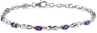 "Shop LC Delivering Joy 925 Sterling Silver Platinum Plated Oval Amethyst Bracelet for Women Size 8"" Ct 1.5"