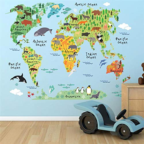 New Colorful Animal World Map Wall Stickers Living Room Home Decorations Pvc Decal Mural Art Diy Office Kids Room Wall Art