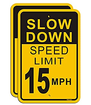 Slow Down Speed Limit 15 MPH Sign  2 Pack  Metal Reflective 12  x 18  Rust Free Aluminum Easy Mounting Outdoor Use Waterproof and Durable Ink