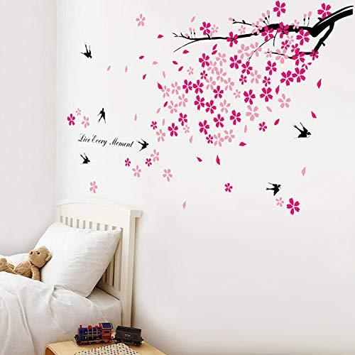 Adhesivos Decorativos para la Pared, diseño de árbol en Flor y Golondrinas, Color Rosa y Negro