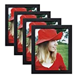 8x10 inch Picture Frame (4pK) Made of Solid Wood High Definition Glass for Table Top Displ...