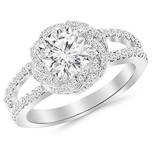 1.16 Carat t.w. 14K White Gold Round Pave Set Halo Style Floral Split Shank Diamond Engagement Ring H-I I2 Clarity Center Stones.