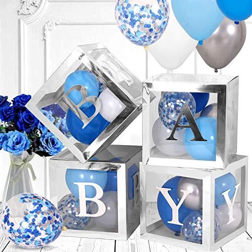 QIFU Decoraciones de baby shower de plata globos transparentes decoración caja de bebé bloques decoraciones para baby shower niño niña 1er cumpleaños fiesta decoraciones