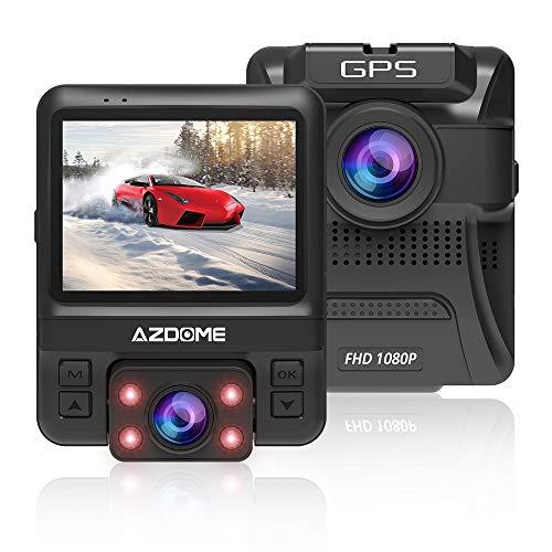 azdome Dashcam Coche Delantera y Trasera 1080P + 720p GPS WiFi Cámara de Coche Dual Lente cámara Sumergible 2.4LCD grabación en Bucle detección de Movimiento Monitor de Aparcamiento