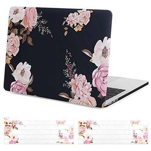 MOSISO MacBook Air 13 inch Case A1369 A1466, Older Version 2017 2016 2015 2014 2013 2012 2011 2010 Release, Plastic Hard Shell, Keyboard Cover Compatible with MacBook Air 13, Pink Peony