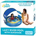 SwimSchool Lazy River Kiddie Pool, Two Ring Circles, Two Toy Duckies and Removable UPF50 Sunshade Canopy