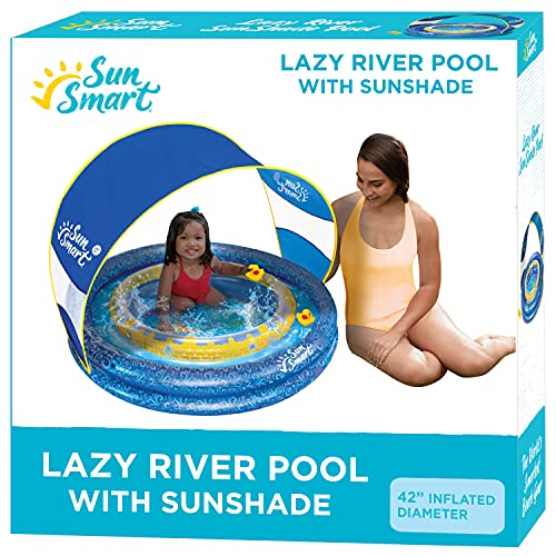 SunSmart Lazy River Kiddie Pool with Two Toy Duckies, Inflatable Kids Pool with Removable UPF50 Sunshade Canopy
