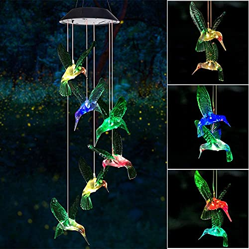Mosteck Hummingbirds Wind Chime | Gift for Mum | 75 cm Mobile Hanging Solar...