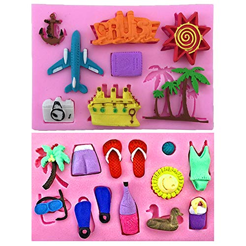 2Pcs/Set Summer Vocation Travel Fondant Molds, Seaside Holiday Silicone Mold for Cake Cupcake Decorating Polymer Clay Mould (Airplane Cruise Liner Camera Coconut Tree Sun Beach Slippers Swimsuit)