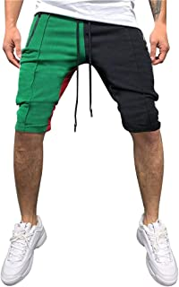 LUCAMORE Men's Casual Soft Elastic Waist Drawstring Patchwork Gym Active Pocket Shorts