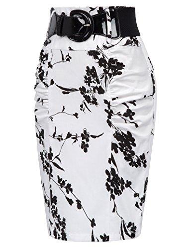 Kate Kasin Jupe Crayon Femme Taille Haute Jupe Femme Midi pour Travail Bureau Occassion Formalle KK271 (L, Floral-5(KK610-5))