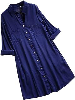 Shirt Dresses for Women Long Sleeve Casual Solid Pockets Button Lapel Neck Cotton Linen Mini Dress