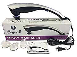 SS Styles II Therapeutic Percussion Body Massager - 3 Variable Attachments To Relieve Knots, Pains, Stiffness & Fatigue In Neck, Shoulders, Feet, Hips, Back, Thigh & More - Great For Home & Travel Use
