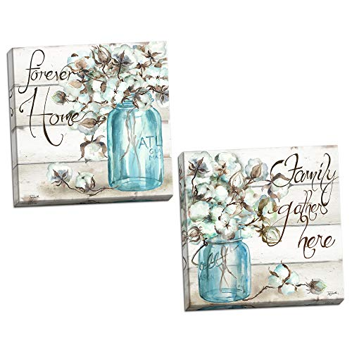 Beautiful Watercolor-Style Family Gathers Here and Forever Home Mason Jar Floral Set by TRE Sorelle Studios; Two 12x12in Hand-Stretched Canvases