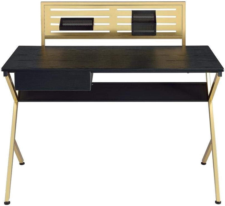 Q-Max SH1297 Q-Max Modern Home Office Furniture Black & gold Writing Desk with Drawer, Black