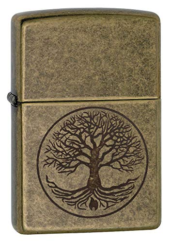 Zippo quotTree of Life Pocket Lighter Antique Brass One Size 29149