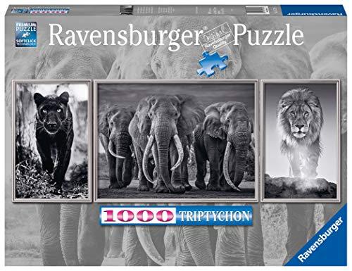 Ravensburger Puzzle 1000 Pezzi per Adulti, Trittico, Animali, Bianco e Nero, Relax, Puzzle Classici, Stampa Qualità