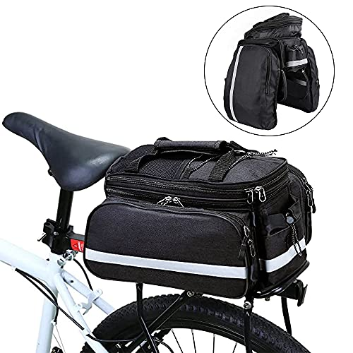 Punvot Alforjas para bicicleta de gran capacidad, portaequipajes, bolsillos laterales plegables, cubierta a prueba de lluvia, perfectas para ciclismo, viajes, exteriores, color negro