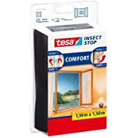Tesa 55343-00021-00 55343-00021-00-Malla Anti-Insectos Ventanas Negra 1,3m x 1,5m, Standard