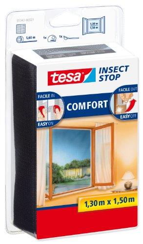 Tesa 55343 Insect Stop Attacca & Stacca Comfort per Finestre-Rete per Zanzariere con Nastro Adesivo a Strappo-Antracite, 130 cm x 150 cm