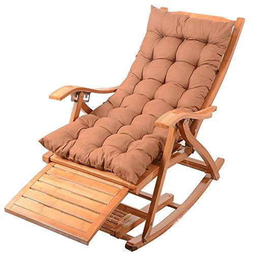 Bseack Fauteuil à bascule, Chaise multi-usages Plusieurs engrenages Loisirs/Bascule réglables en bois massif Jardin/Jardin à l'extérieur (Couleur : A)