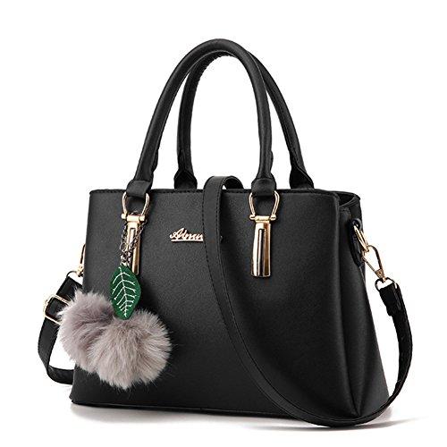 pas cher un bon ZiXing Grand sac à main en cuir Sac à bandoulière Hairball pour femme Noir