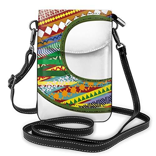 Women Small Cell Phone Purse Crossbody,Ornamental Design Multicolor Digitally Constructed Image ABC...