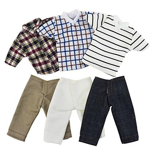 Asiv 3 Sets Plaid Kleidung Jacke Hosen Outfit für Ken Fashionista Puppen, für Weihnachten Geburtstagsgeschenk