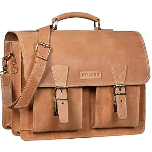 STILORD 'Jeffrey' Lehrertasche Aktentasche Leder Große Vintage Ledertasche zum Umhängen 15.6 Zoll Laptop Tasche für Schule Uni Business Trolley Aufsteckbar, Farbe:Princeton - braun