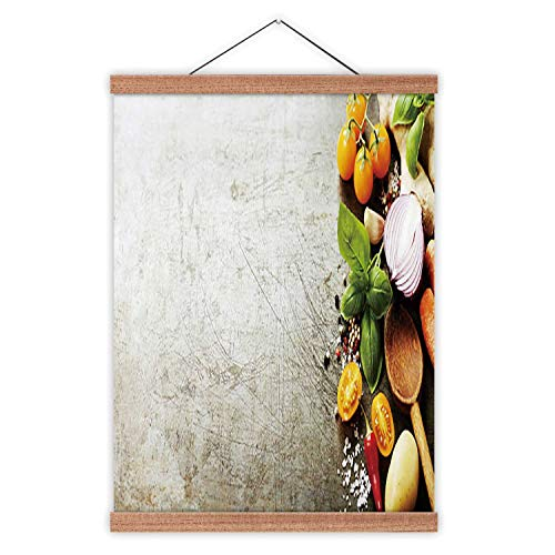Hitecera Wooden Spoon and Fresh Organic Vegetables on Old Background Cooking,Backgrounds 24x35in(WxH)