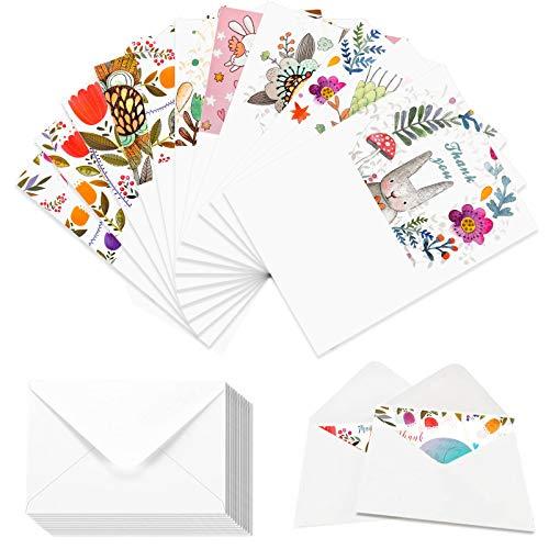 メッセージカード かわいい レターセット CaseBuy 感謝カード グリーティングカード 可愛い動物 サンキューカード ありがとう Thank you card 封筒と封印シール付き はがきサイズ 12枚入り