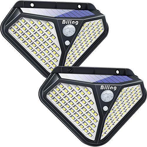 Solarleuchte für Außen 102 LED solarleuchte garten mit bewegungsmelder aussen 270 ° Weitwinkel Solarbetriebene wandleuchte Wasserdicht solarlampen Für Veranda Patio Weg Einfahrt Garage -Weiß (2 Stück)