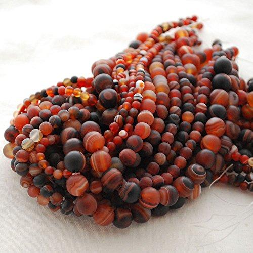 Naturel de haute qualité Grade A Madagascar Agate givré/mat semi-précieuses Perles rondes Pierre précieuse – 6 mm (65–68 Perles)