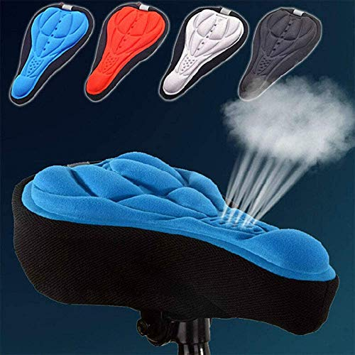 3D Bike Saddle Cover Gel Soft Seat Covers for Mountain Bicycle Indoor Spinning Red 1 pcs