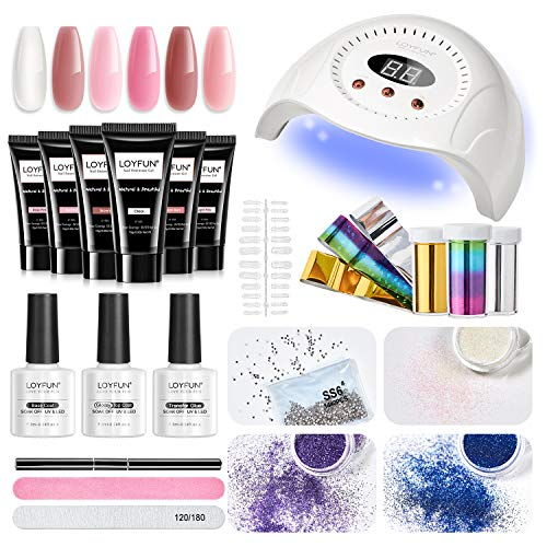 Kit Uñas de Gel,LOYFUN Kit de Gel de Extensión de Uñas con Lámpara LED/UV 30W Kit de Poly Gel 6 Piezas 15ml Set Uñas de Gel Kit Completo Profesional con Base e Top coat adecuado para Casa o Salon