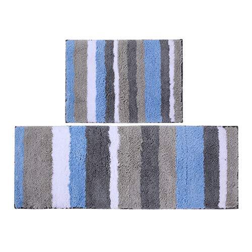 Homaxy rutschfest Badematten Set 2 teilig Mikrofaser Saugfähige Badteppich Set Weich Hochflor Badvorleger Set –40 x 60 cm + 40 x 120 cm, Blau/Grau