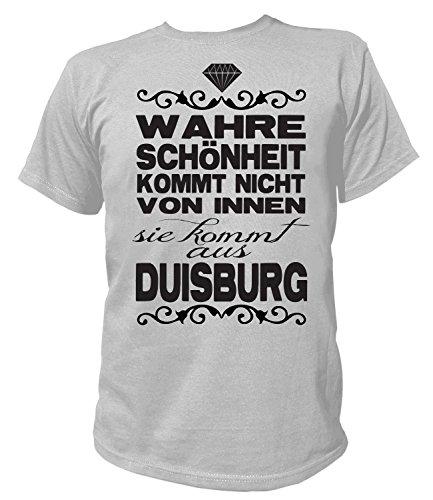 Artdiktat Herren T-Shirt - Wahre Schönheit kommt Nicht von Innen - Sie kommt aus Duisburg Größe L, grau