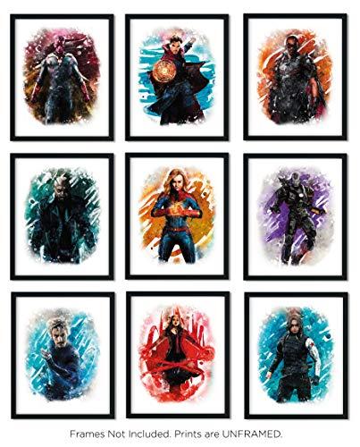 Avengers Superhero Watercolor Art Prints (Unframed)   Great Gift Set of 9 (8x10)   Set 2
