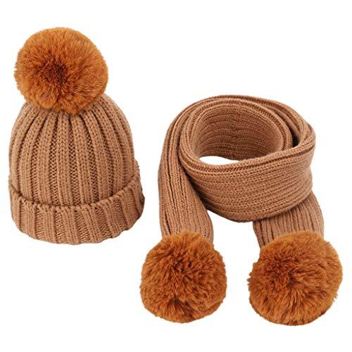 wenjuersty 2-teiliges Strickmützen-Set für Kinder, Mütze und Schal, für den...