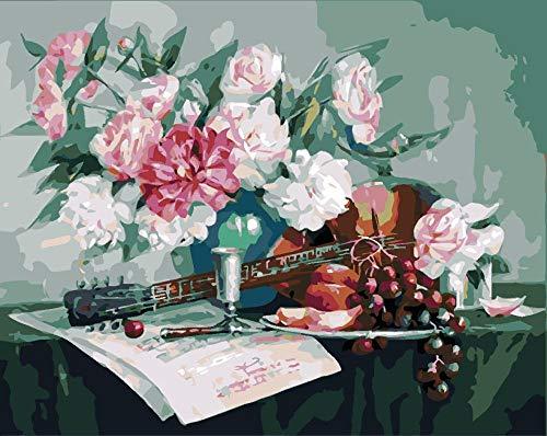 renqiancun Eettafel kunst DIY Verf Door Getallen Voor Volwassenen en Kinderen Beginner Moderne bloemen Foto Voor Home Decor 16 * 20 inch